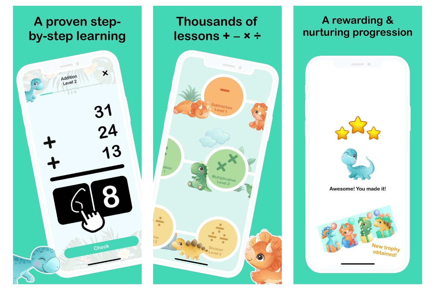 Millefeuille Agency - Dino Math App iPhone - Kids Math Games and Learning